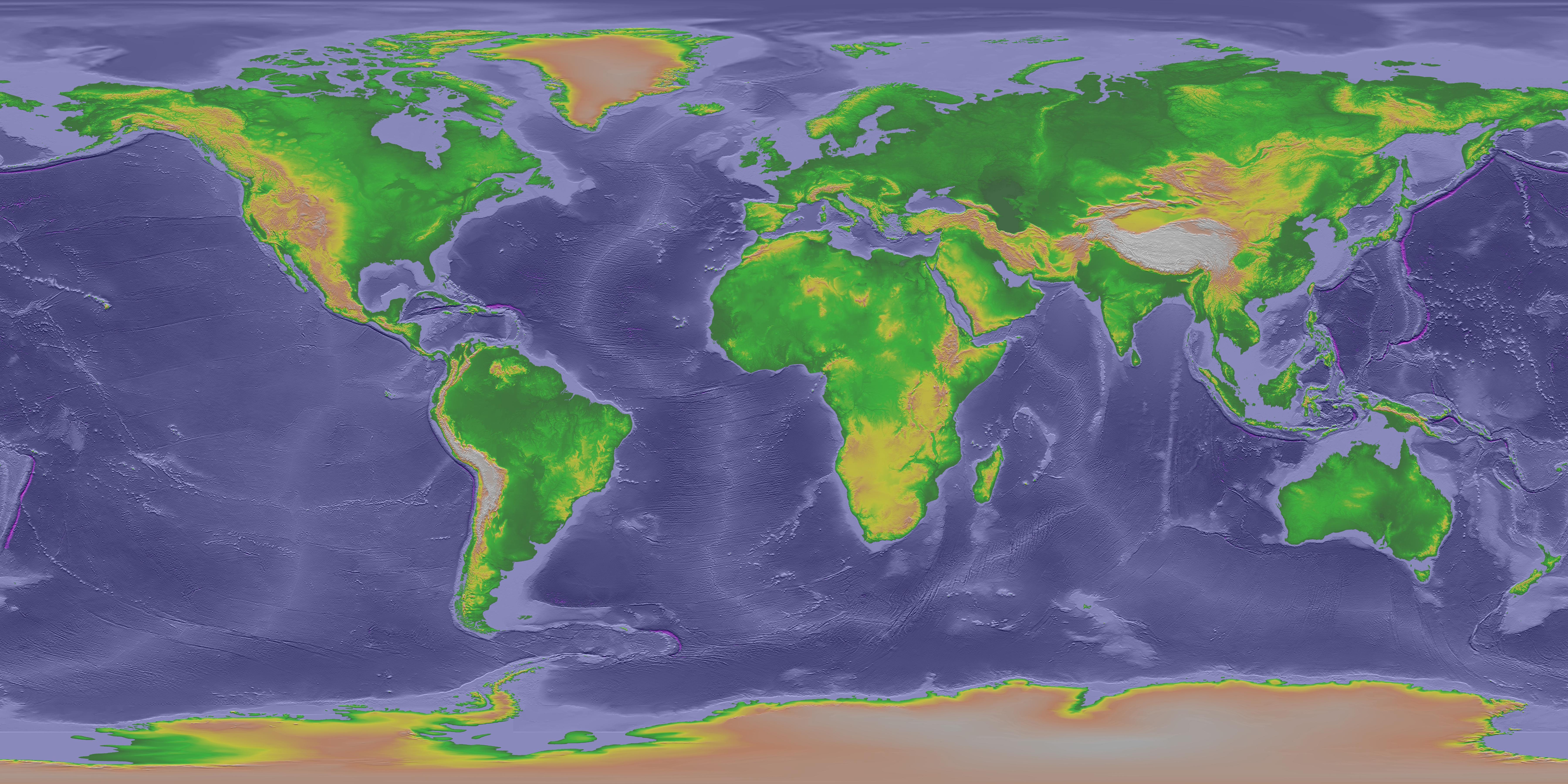 Earthguide Online Classroom Plate Tectonics - World altitude map