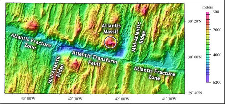Location of Atlantis Transform area. Image plotted from data provided by Dr. Donna Blackman, Institute of Geophysics and Planetary Physics, Scripps Institution of Oceanography, UCSD.