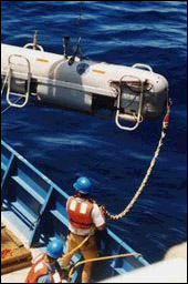Deployment of DSL-120 on a previous research cruise. Nicholas School of the Environment, Duke University, Hess Deep Expedition